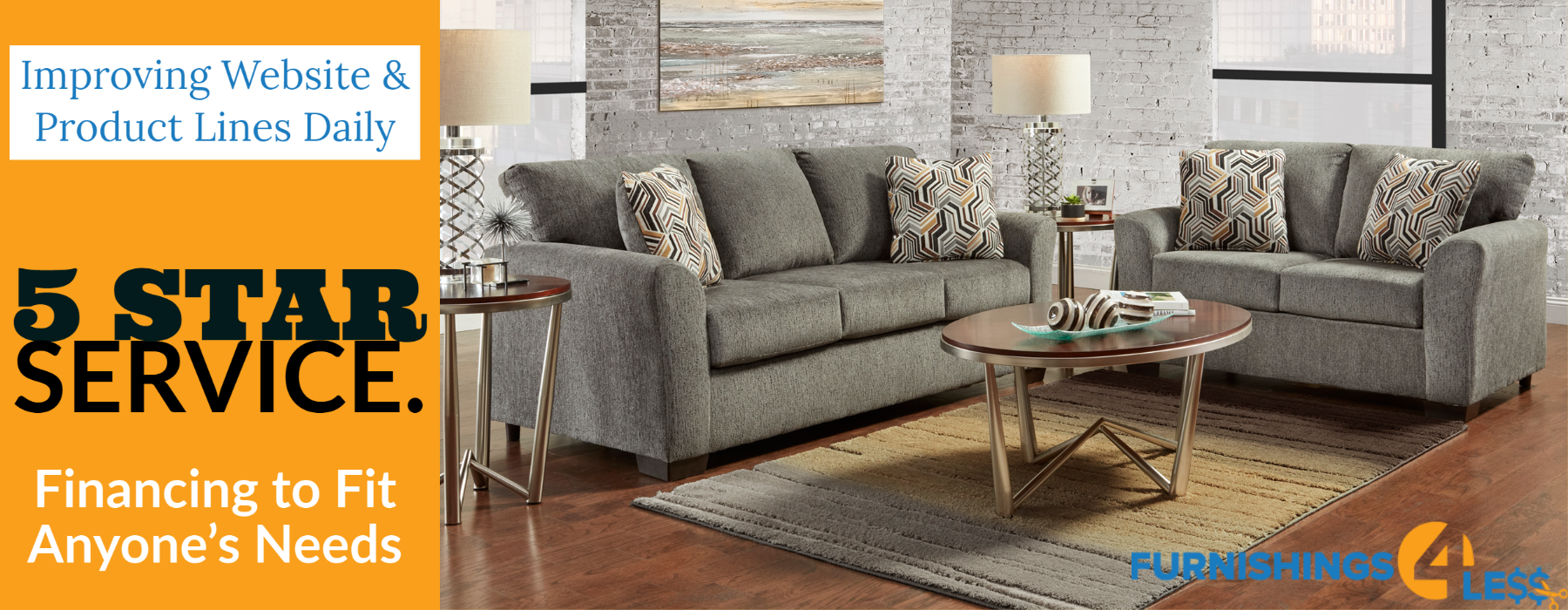Furnishings 4 Less logo furniture mattresses rugs and more 4Less