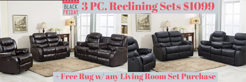 3 piece reclining set on sale