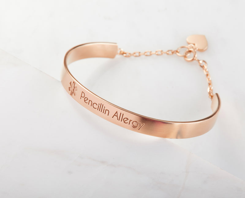 Medical ID Bracelet With Heart Charm