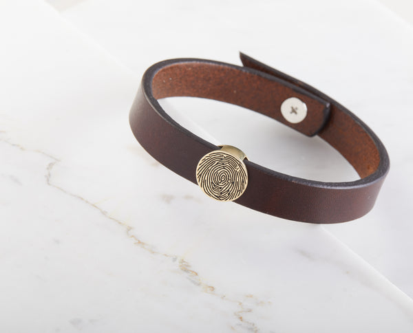 Personalized Fingerprint Leather Bracelet