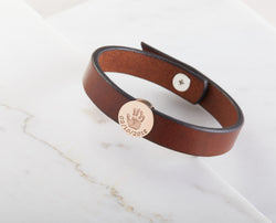 Baby Handprint Leather Bracelet