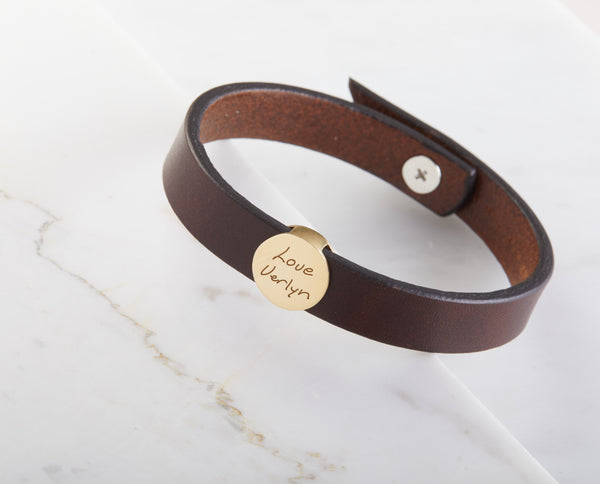Personalized Handwriting Leather Bracelet