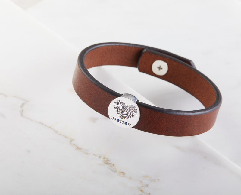 Heartshaped Fingerprint Leather Bracelet