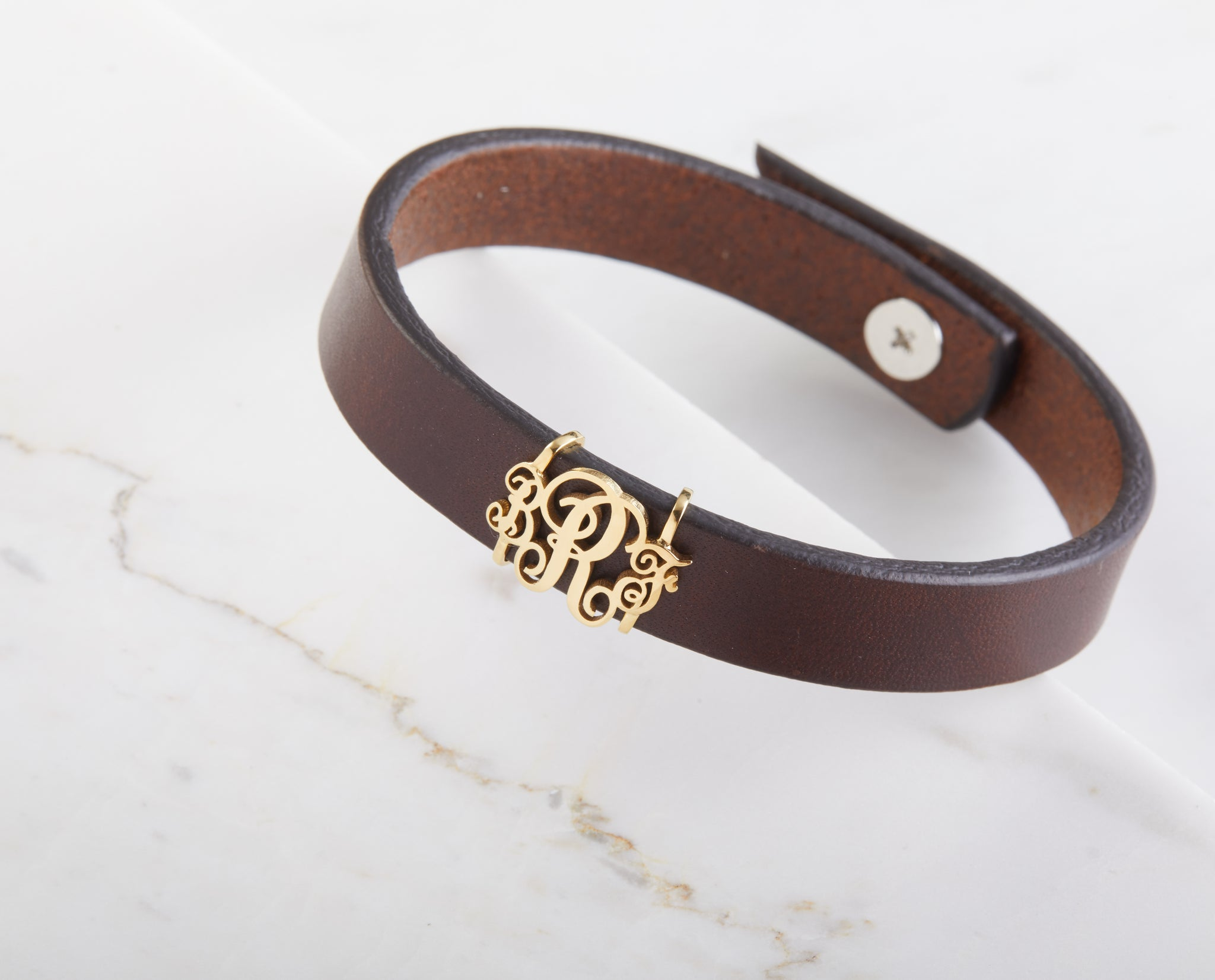 Cursive Monogram Leather Bracelet