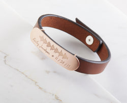 Leather Bracelet with Actual Heartbeat