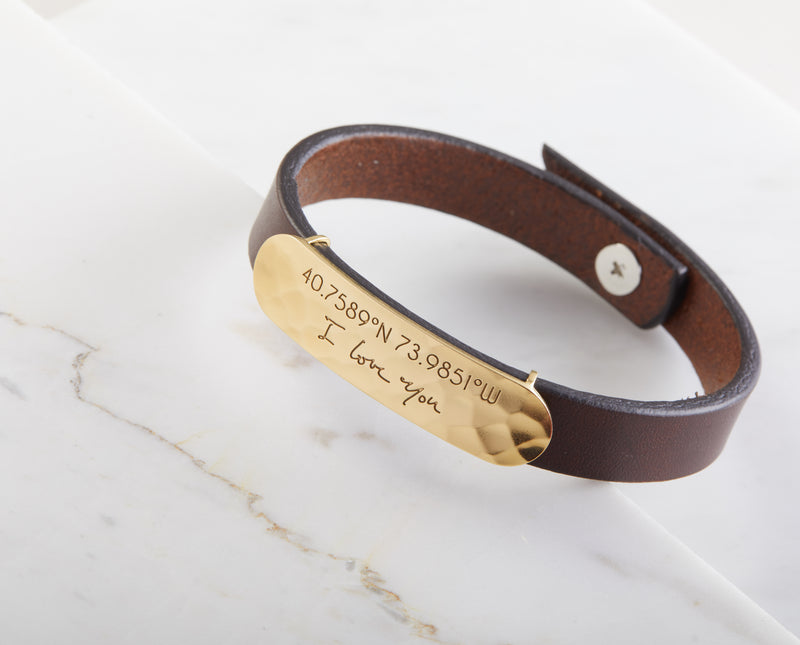 Leather Bracelet with Actual Handwriting