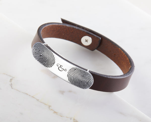 Double Fingerprints Leather Bracelet