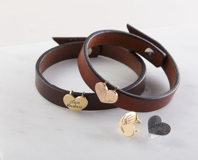 Baby Handprint Leather Bracelet with Heart Charm