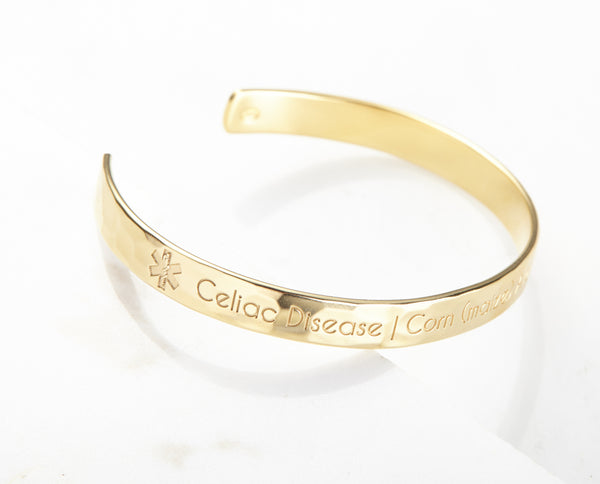 Medical Alert Cuff Bracelet with Birthstone