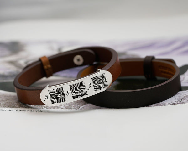 Leather Bracelet with Multiple Fingerprints