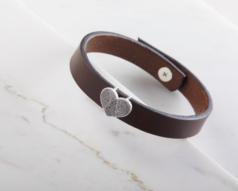 Double Fingerprints Leather Bracelet with Heart Charm