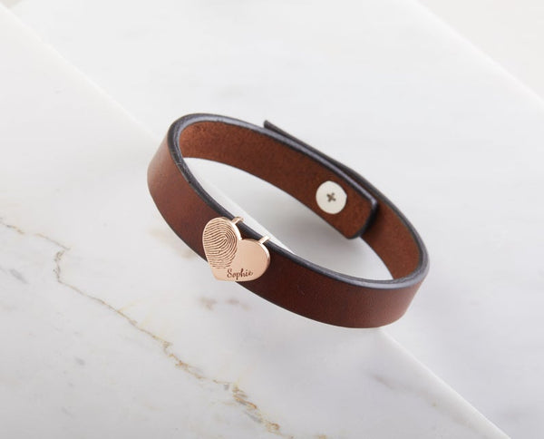 Fingerprint Leather Bracelet with Heart Charm