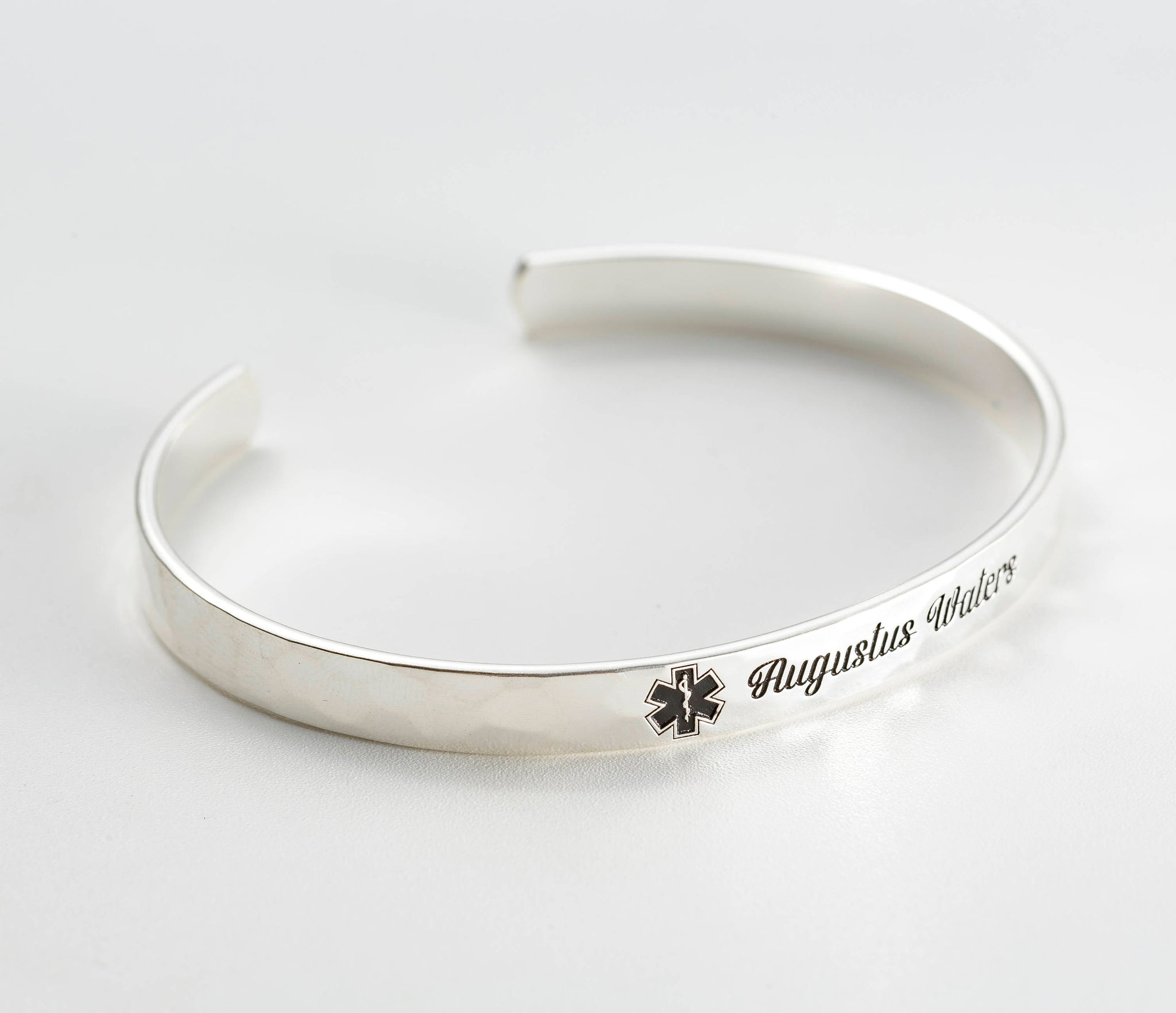 Medical Alert Cuff Bracelet with Hammered Finish