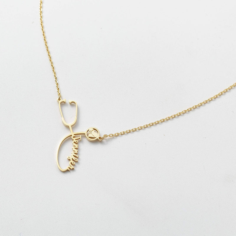 14K Solid Gold Personalized Stethoscope Necklace
