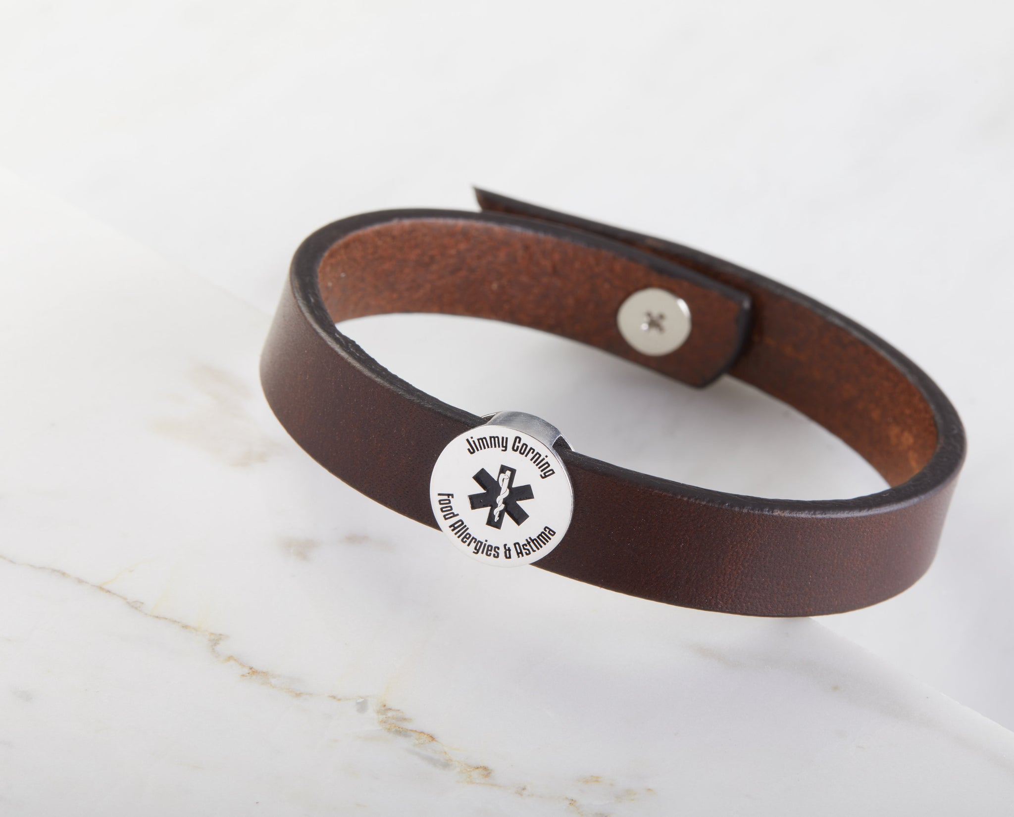 Medical ID Leather Bracelet