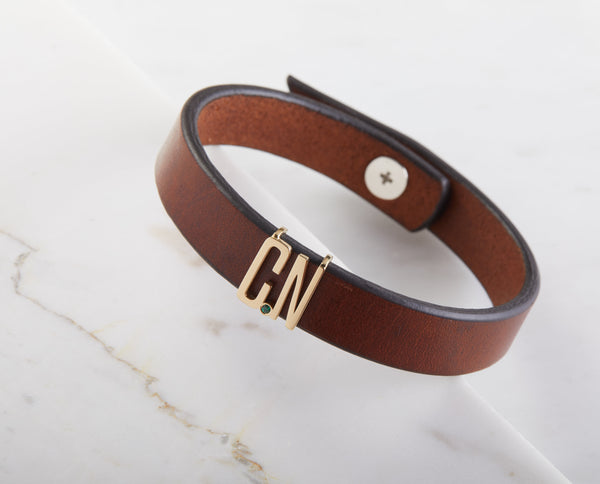 Name Initials Leather Bracelet