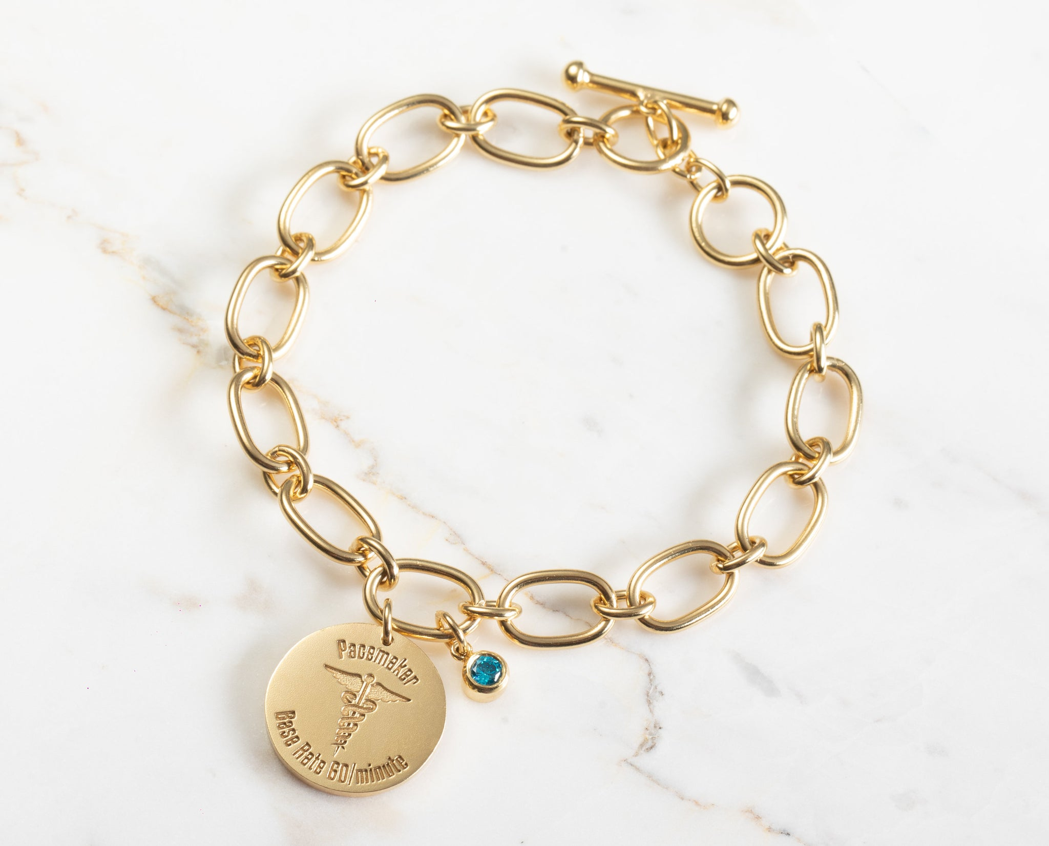 Medical ID Bracelet with Birthstones