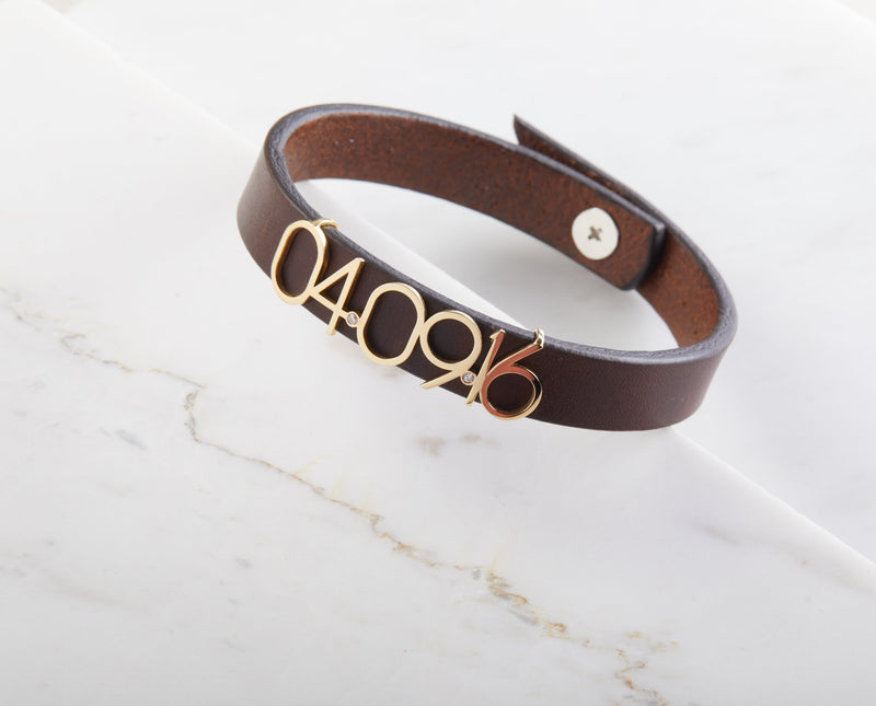 Personalized Date Leather Bracelet