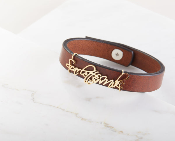 Personalized Name Leather Bracelet