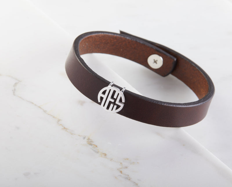 Circle Monogram Leather Bracelet