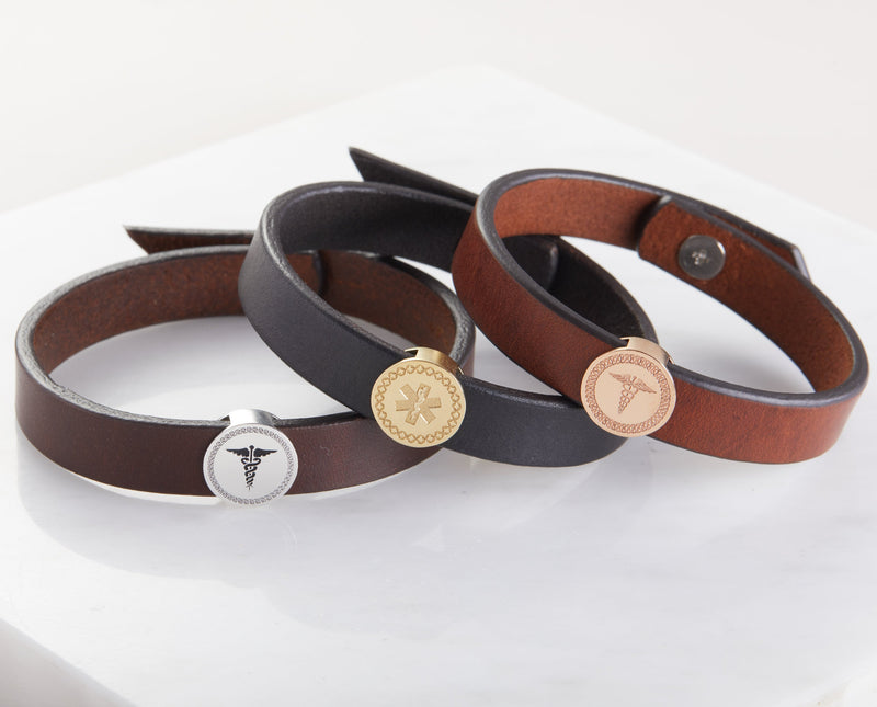 Medical Alert Leather Bracelet