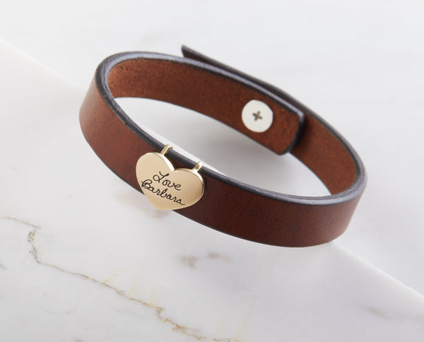 Handwriting Leather Bracelet with Heart Charm