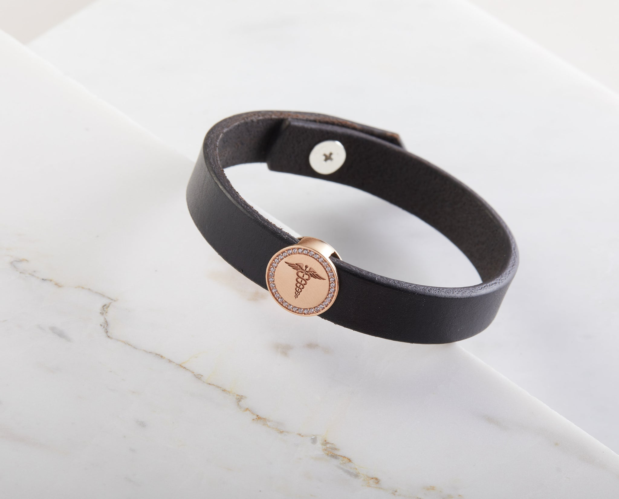 Medical ID Leather Bracelet with Birthstones