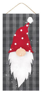 "12.5""L X 6""H Christmas Gnome w/Small Polka Dots, Cool Grey/Red/White  F"