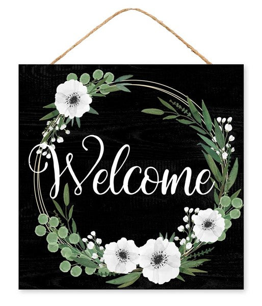 "10""SQ Welcome Floral Wreath Sign, Black/White/Green ***ARRIVING FEB 2020***"