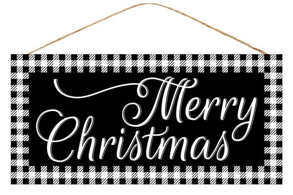 "12.5""L X 6""H Merry Christmas Sign, Black/White ***OUT FOR THE SEASON***"