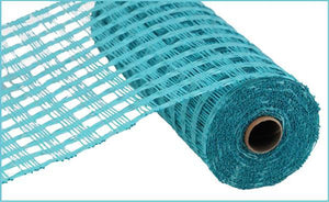 "10""X10yd Poly Burlap Check Mesh, Turquoise - KRINGLE DESIGNS"