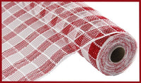 "21""X10yd Metallic Check Mesh, Red/White"