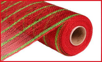 "10""X10yd Deluxe Metallic Stripe, Wide Red/Thin Laser Lime - KRINGLE DESIGNS"