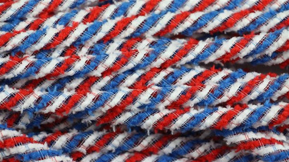 8mmx20yd Snowdrift Deco Flex Tubing, Red/White/Blue