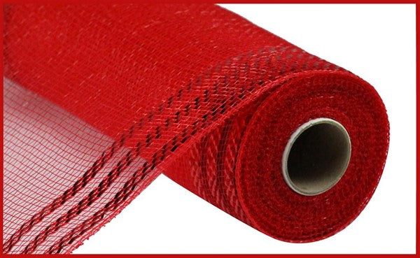 "10.5""X10yd Border Stripe Metallic Mesh, Red w/Red Foil ***ARRIVING MAY 2021***"