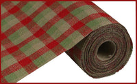 "9.5""x10yd Multi Check Fabric Faux Burlap, Red/Moss/Natural"
