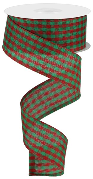 "1.5""X10yd Gingham Check, Red/Emerald Green O62"