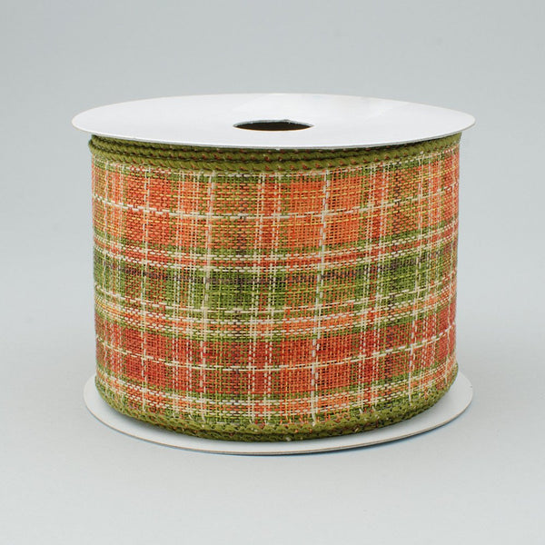 "2.5""x10yd Plaid On Royal, Orange/Moss Green/Rust/Brown S43"