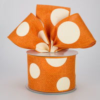 "2.5""X10YD Giant Multi Dots On Cross Royal, Orange/Ivory"
