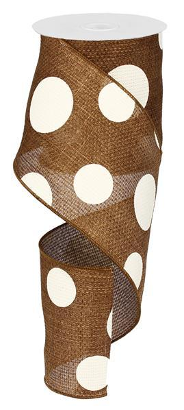 "4""X10YD Giant Multi Dots On Cross Royal, Brown/Ivory"