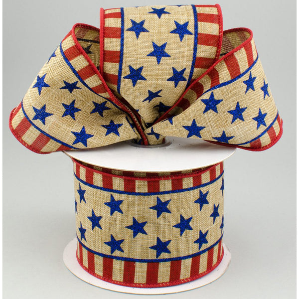 "2.5""X10yd Stars And Stripes On Royal, Light Beige/Red/Royal  ***ARRIVING MAY 2021***"