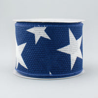 "2.5""X10yd Large Stars On Cross Royal, White/Navy RR"