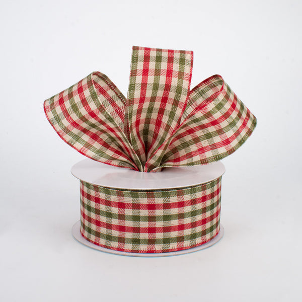 "1.5""X10yd Primitive Gingham Check, Red/Moss/Ivory S8"