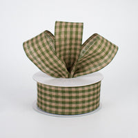 "1.5""X10yd Primitive Gingham Check, Moss Green/Tan O41"