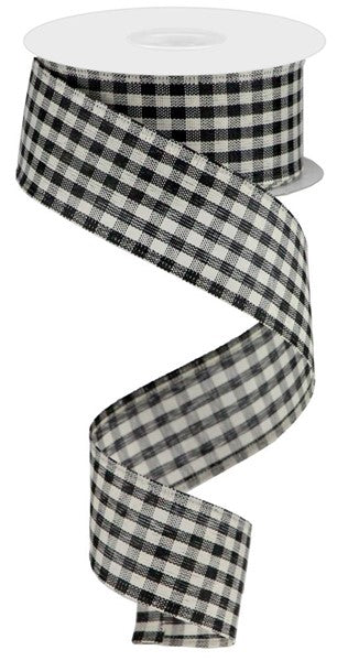 "1.5""X10yd Primitive Gingham Check, Black/Ivory N9"