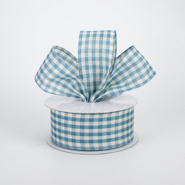 "1.5""X10YD Primitive Gingham Check, Farmhouse Blue/Ivory O23"