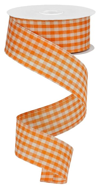 "1.5""X10yd Primitive Gingham Check, Orange/Ivory"