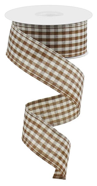 "1.5""X10yd Primitive Gingham Check, Brown/Ivory"