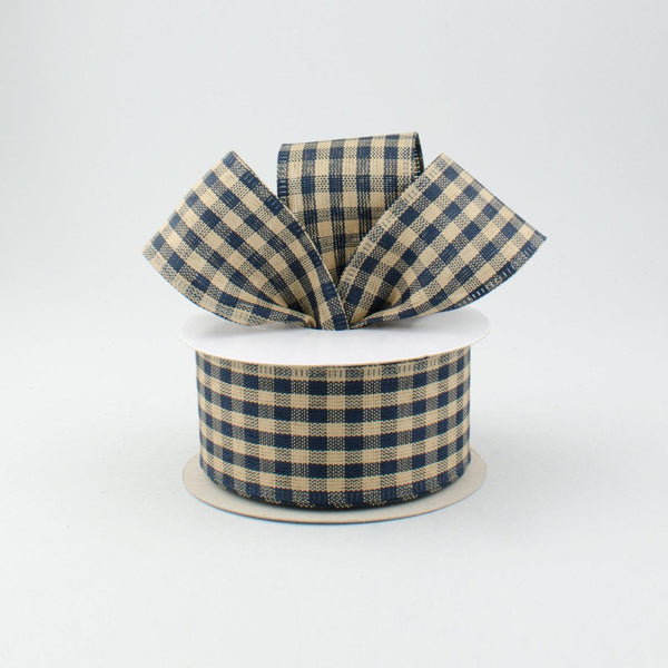 "1.5""X10yd Primitive Gingham Check, Navy Blue/Tan N9"