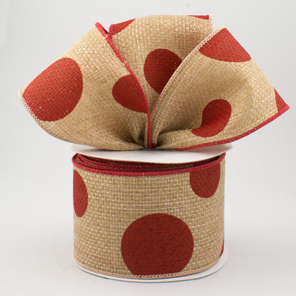 "2.5""X10yd Giant Two Size Dots, Beige/Red - KRINGLE DESIGNS"